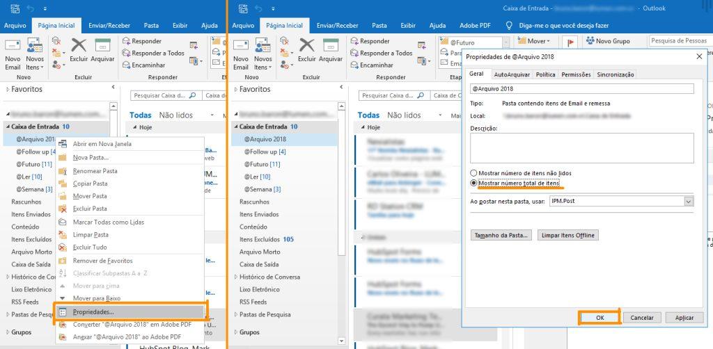 como ver o número de e-mails por pasta no Outlook