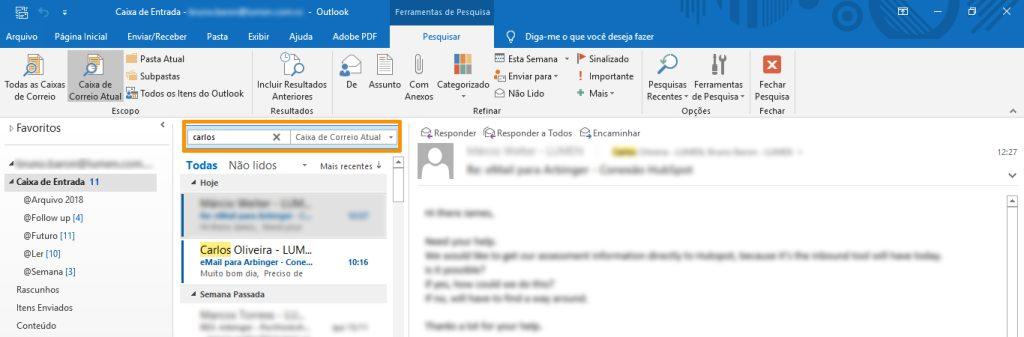 como pesquisar e-mails no Outlook
