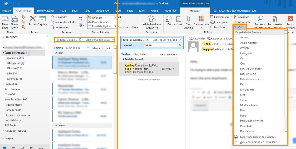 Mindsetividade - busca avançada de e-mails no Outlook
