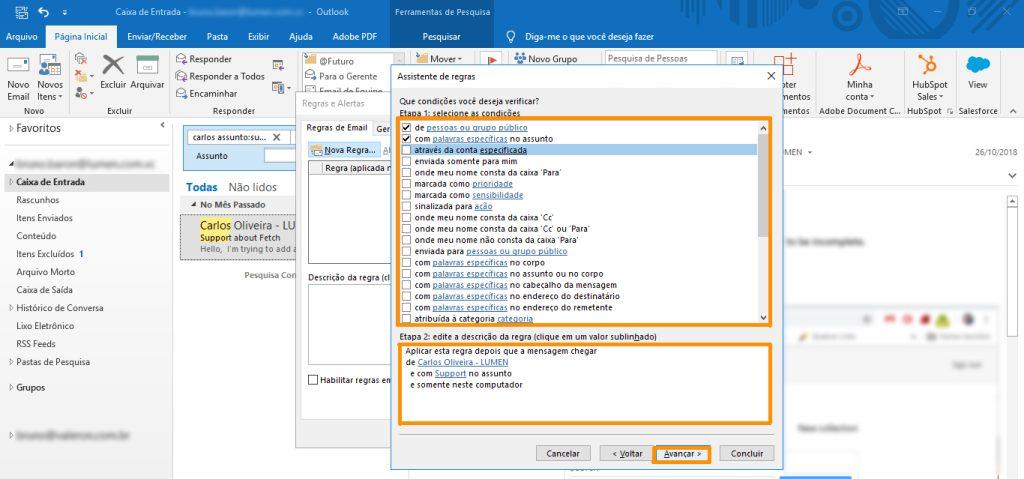 Mindsetividade - critérios no Outlook